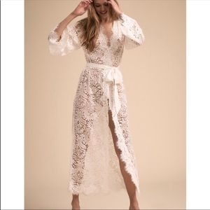 BHLDN heavenly chemise and anemone lace robe